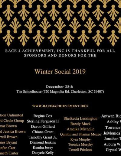 Race for Achievement Winter social 2019 flyer.