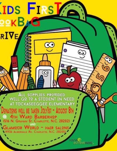 Kids first bookbag drive flyer