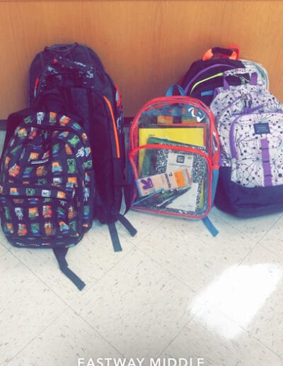 Book bags at Eastway middle school