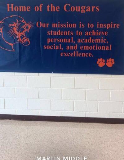 Martin Middle school banner in hallway