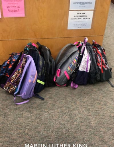 Book bags at Martin Luther King middle school