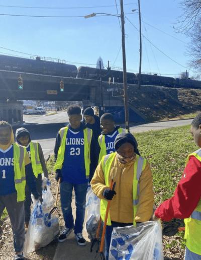 Group volunteering to pick up trash