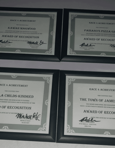 Four Race 4 Achievement awards of recognition